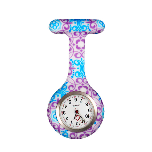 Purple and blue pretty pattern nurse watch
