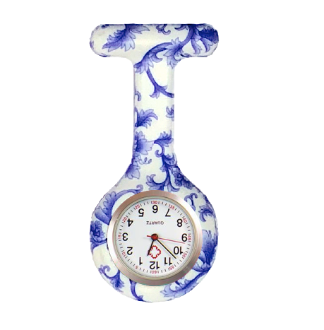 Blue and white pretty nurse watch