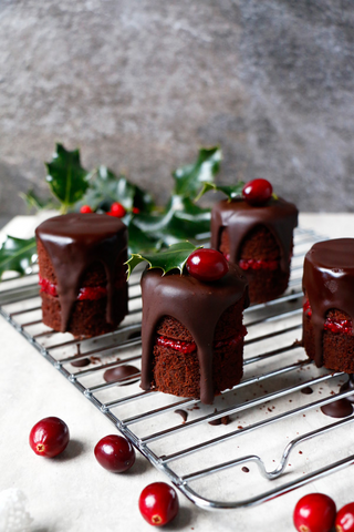 Chocolate Cranberry Christmas Mini Cakes
