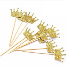 Gold Glitter Crown Cupcake Topper.