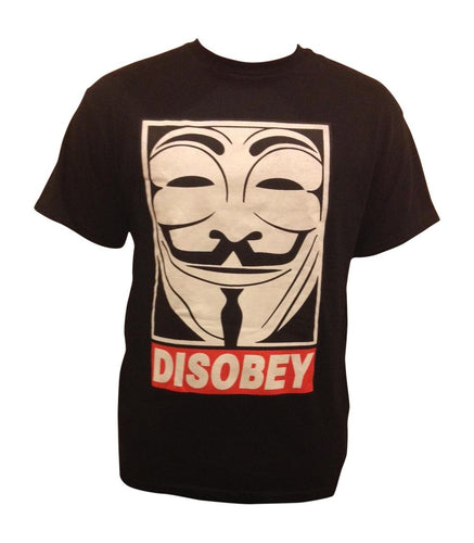 DISOBEY Black Short Sleeves T-Shirt 1018 - funshirtsusa