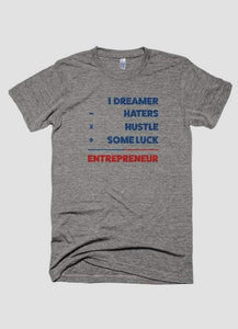 DREAMER HATER HUSTLE Men's Gray Short Sleeve T-shirt - funshirtsusa