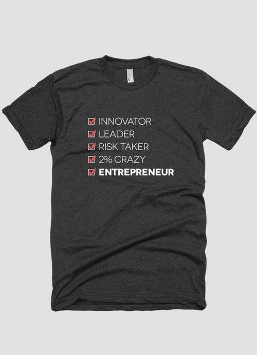 INGREDIENTS OF AN ENTREPRENEUR Short Sleeve Charcoal T-shirt - FunShirtsUSA