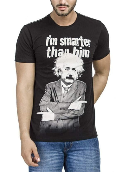EINSTEIN I'M SMARTER THAN HIM Black Short Sleeve Men T-Shirt - funshirtsusa