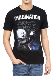 EINSTEIN IMAGINATION Black Short Sleeve Men's T-Shirt - funshirtsusa