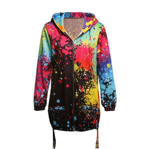 #Autumn Women Ladies Zipper Tops Hoodie Hooded  Colorful Graffiti Coat Jacket Casual Slim Thin Jumper - funshirtsusa
