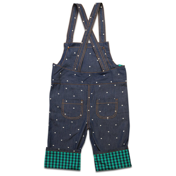 Olele® Heart Print Denim Dungaree with Contrast Hem Fold and Lining for girls