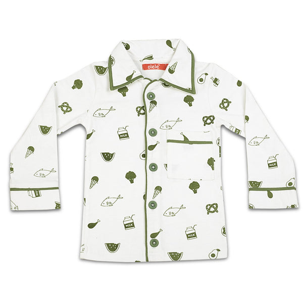 Olele® Boys Foodie Print Cotton Night Suit with Olive Green Pajama