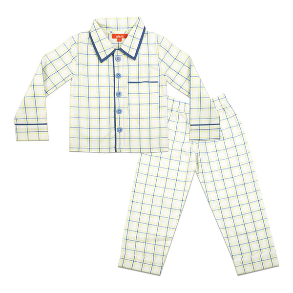 Olele® Woven Pure Cotton Check Night Suit with Pajama