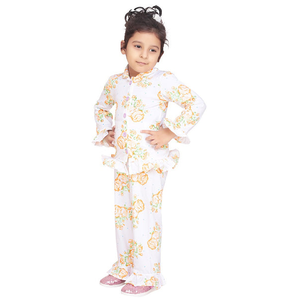 Olele® Garden Floral Kids Girls Printed Night Suit with Pajama Set