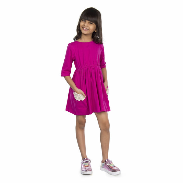 Olele® Girls Two Pocket Onion Red Cotton Lace Dress