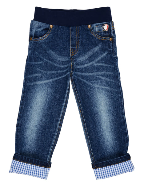 Olele® Boys Premium Denim Rib Waist Jeans with Washing Effects