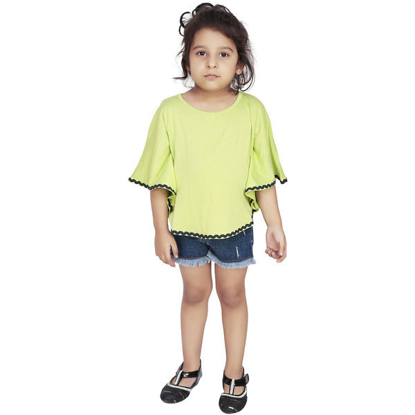 Olele® Green Knit Circle Top with Lace Hemfold