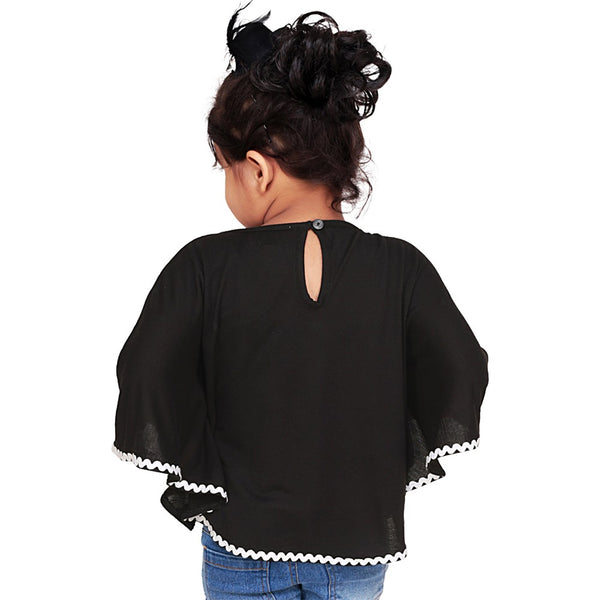 Olele® Black Knit Circle Top with Lace Hemfold