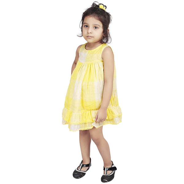 Olele® Yellow Check Dress with Lace
