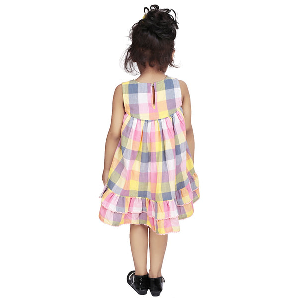 Olele® Yellow and Pink Check Dress with Lace