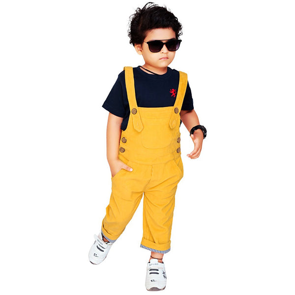 Olele® Mustered Yellow Corduroy Dungaree For Boys