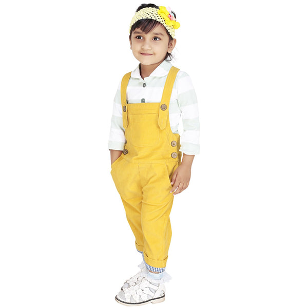 Olele® Mustered Yellow Corduroy Dungaree For girls