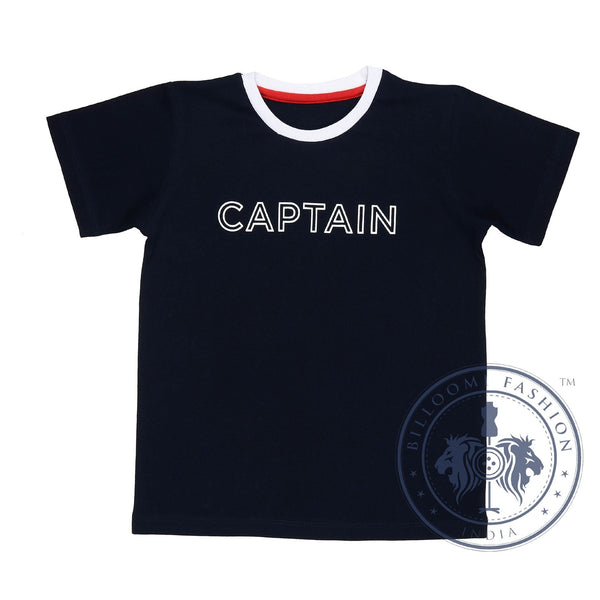 Olele® RoundNeck Half Sleeve Captain Tshirt  Dark Blue for Boys
