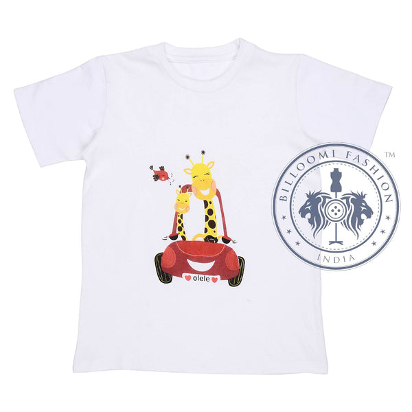 Olele® RoundNeck Half Sleeve Giraffe Tshirt  White for Boys