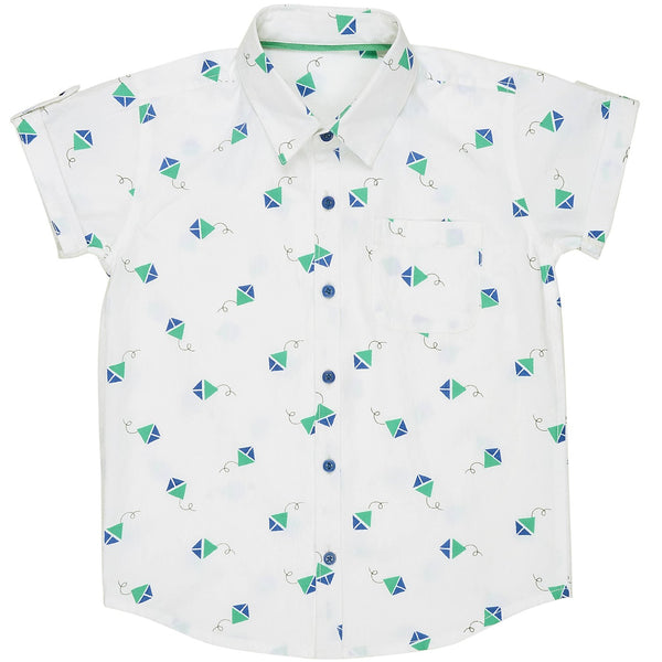 Olele® Half Sleeve Boys Shirt Kite Print