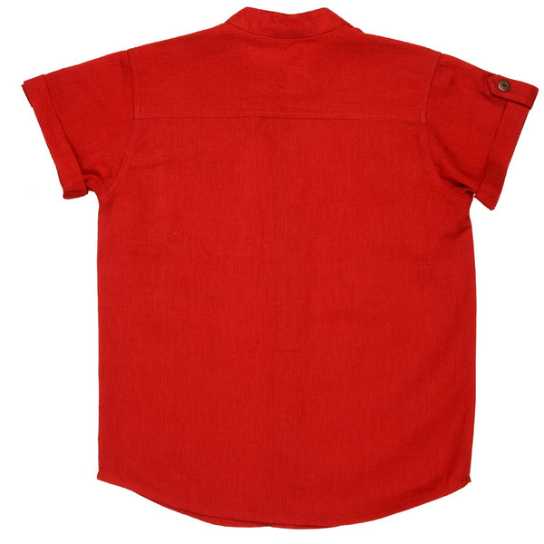 Olele® Half Sleeve Round Collar Boys Linen Shirt Summer Red