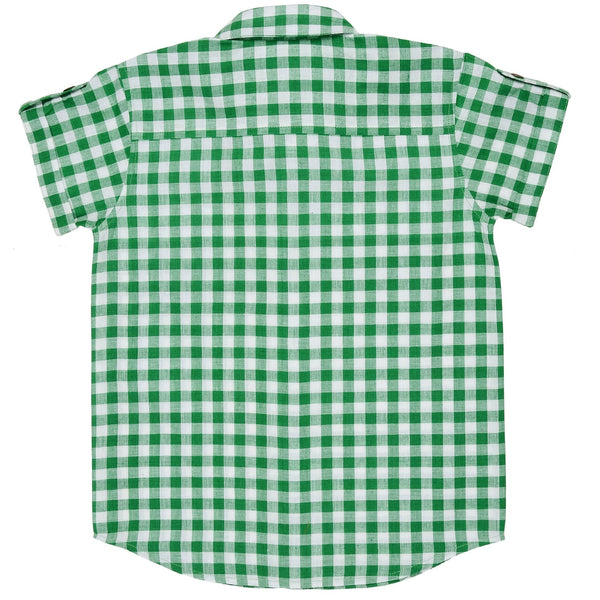 Olele® Half Sleeve Boys Shirt Green Check