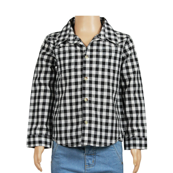 Olele®Full Sleeve Boys Shirt  Black and White Check