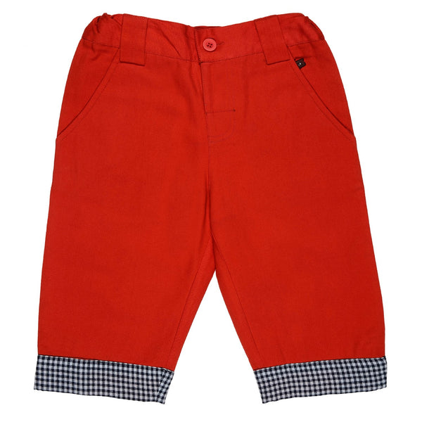 Olele®Boys Red Quarter Pant without Edge Loop