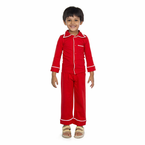 Olele® Boys Tomato Red Cotton Full Sleeves Night Suit with Pajama