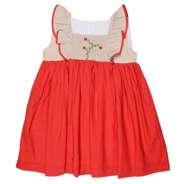 Olele® Girls Red Flower Smocked Dress