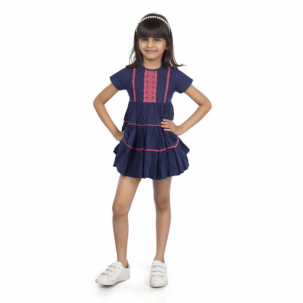 Olele® Girls Dress Blue Frill Lace
