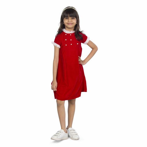 Olele® Valentine Pearl Girls Partywear Red Dress