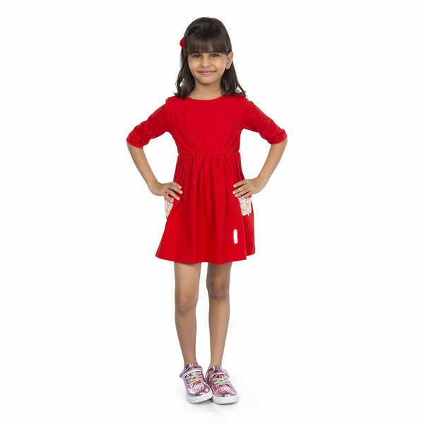 Olele® Girls Two Pocket Onion Cotton Lace Dress