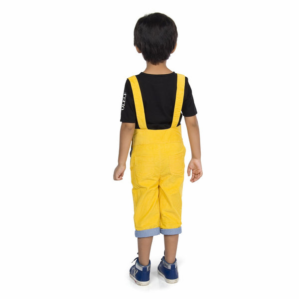 Olele® Butter Yellow Corduroy Dungaree with Contrast Lining for Boys