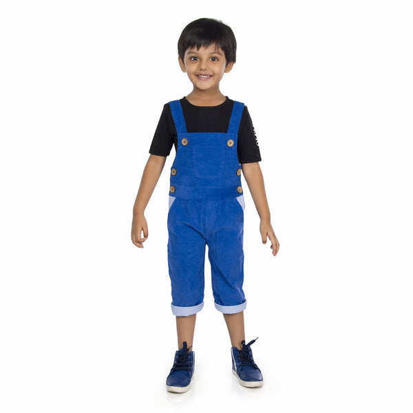 Olele® Royal Blue Corduroy Dungaree with Contrast Lining for Boys