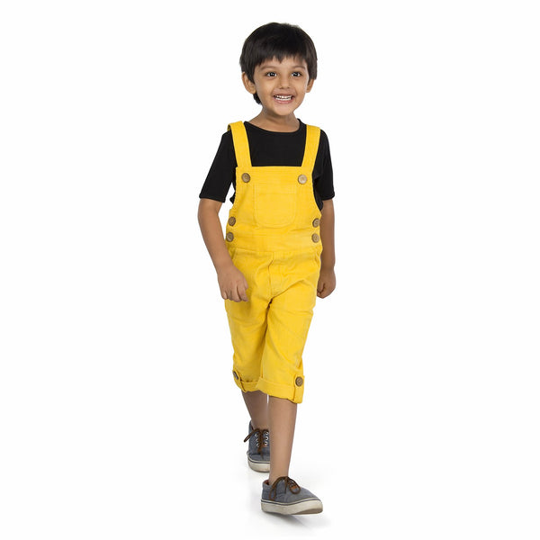 Olele® Butter Yellow Corduroy Dungaree with Bottom Loop for Boys