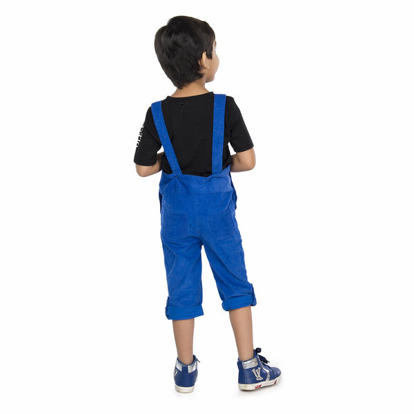 Olele® Royal Blue Corduroy Dungaree with Bottom Loop for Boys