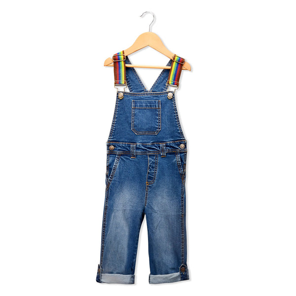Olele® Denim Dungarees with Rainbow Strape for Boys