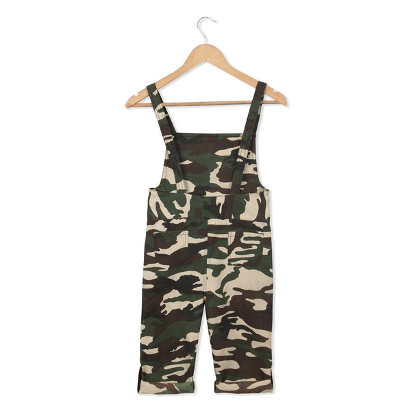 Olele® Army / Military Print Twill Dungaree with Bottom Loop for Boys