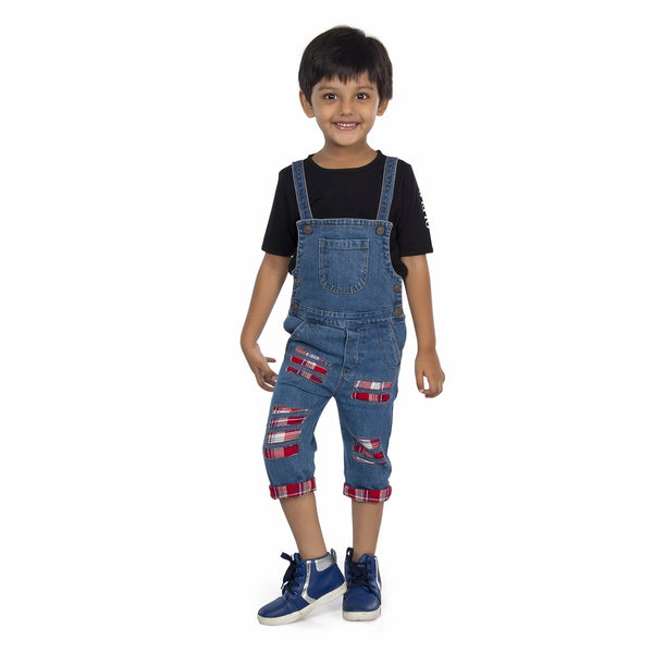 Olele® Denim Dungaree with Tartan Plaid Linining and Damaging Effect for Boys