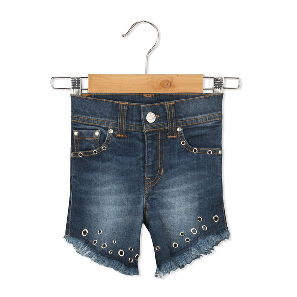 Olele® Girls Hand Crafted Denim Shorts with Eyelets Detailing