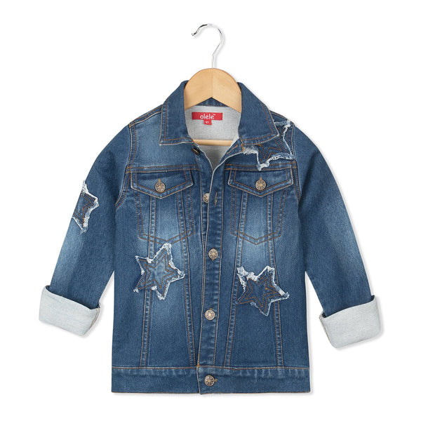 Olele® Full Sleeve Star Patch Denim Jackets for Girls