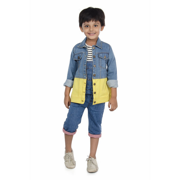 Olele® Boys Full Sleeve Denim Jackets with Contrast Yellow Twill