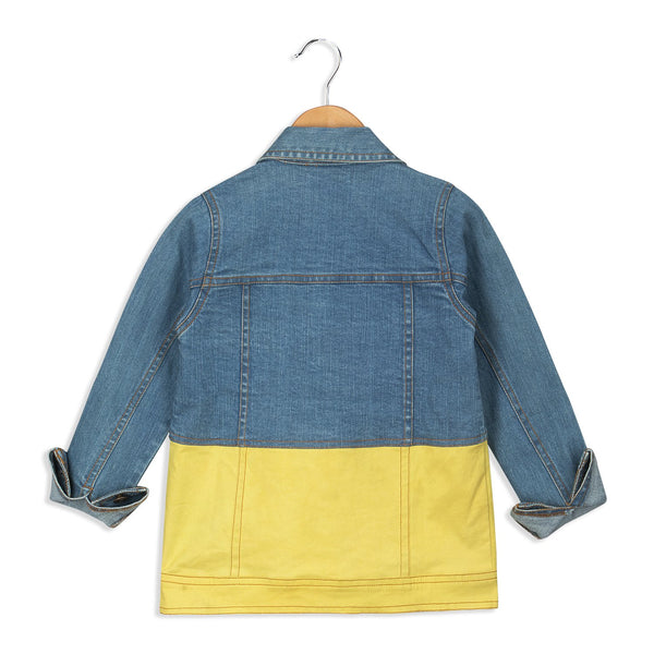 Olele® Girls Full Sleeve Denim Jackets with Contrast Yellow Twill