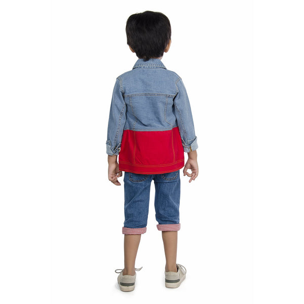 Olele® Boys Full Sleeve Denim Jackets with Contrast Red Twill