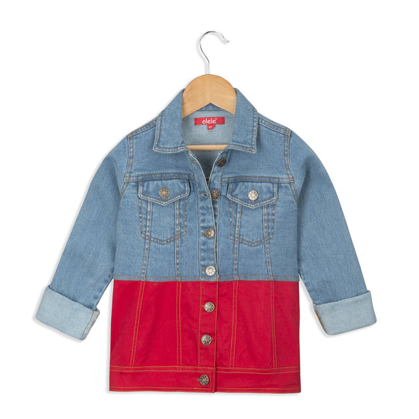 Olele® Girls Full Sleeve Denim Jackets with Contrast Red Twill