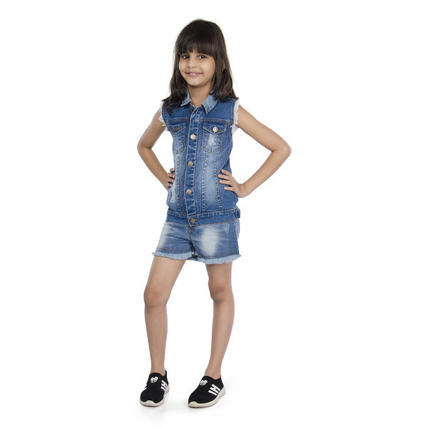 Olele® Girls Sleeveless Denim Jacket with Raw Edge Detailing