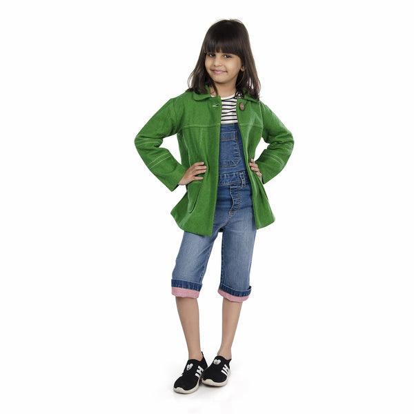 Olele® Girls Forest Green Winter Woollen Jackets