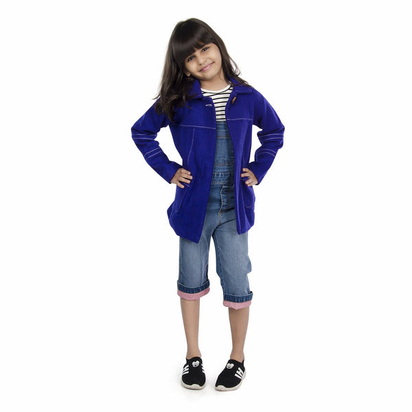 Olele® Girls Dark Purple Blue Winter Woollen Jackets